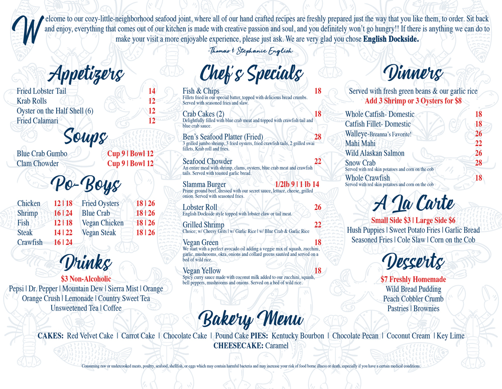 english dockside seafood house menu